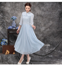 Traditional Chinese Clothing Women Female Spring Summer Boho Classic Polite Half Sleeve Stand Collar Blue White Lace Dress 10