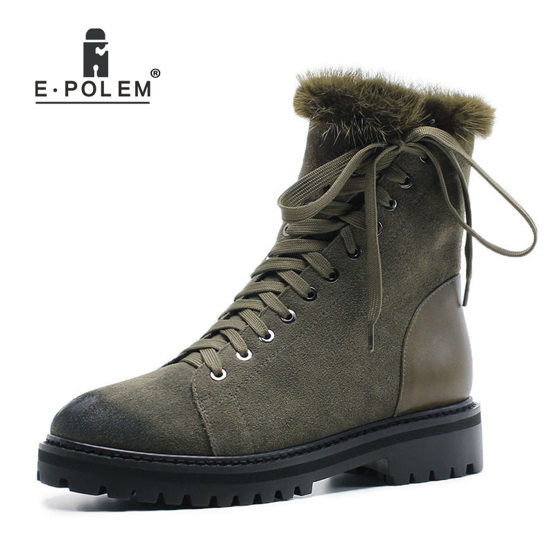Women Boots 2018 New Winter Leather Thick Heel Casual Snow Boots Warm Mink Hair Cross Straps Zipper Boots For WomenWomen Boots 2018 New Winter Leather Thick Heel Casual Snow Boots Warm Mink Hair Cross Straps Zipper Boots For Women