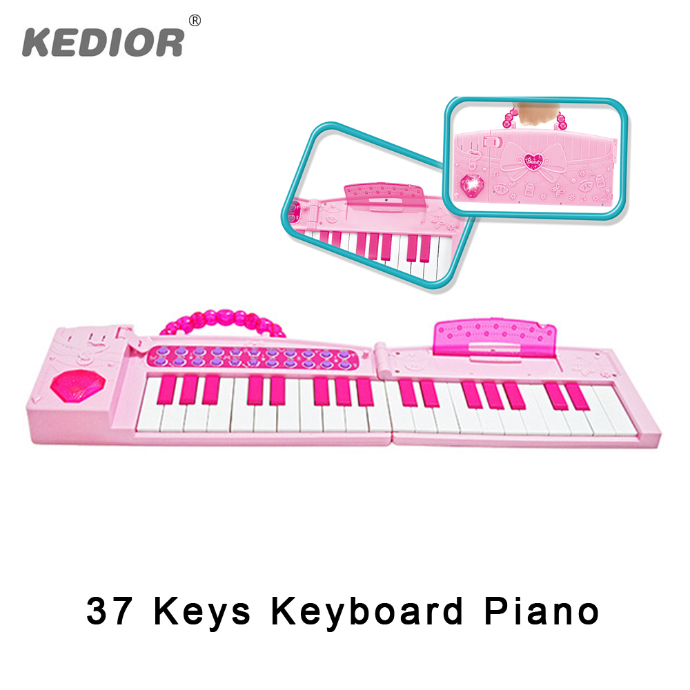 ФОТО Kedior Folding Kids Music Toys 37 Keys Piano Keyboard Electronic Developmental Baby Toy Musical Instruments Girls Portable Gift