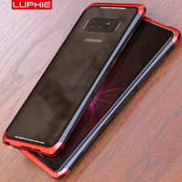 For Samsung Galaxy Note 8 Case Original Luphie Metal PC 9H Transparent Tempered Glass Back Triple