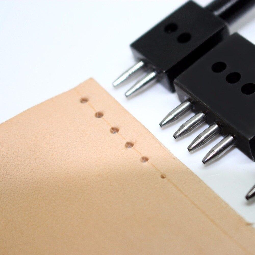 4/5/6mm 2/4/6 Prong Row Hole Punch DIY Diamond Lacing Stitching Chisel Set Leather Craft Kits Black More High Quality Price 3Pcs