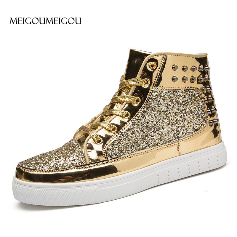 Glossy High Men Leather Shoes Fashion Sequin Sneakers Men Casual Shoes Rivet Decoration Gold Flash Men Flats Tenis Masculino