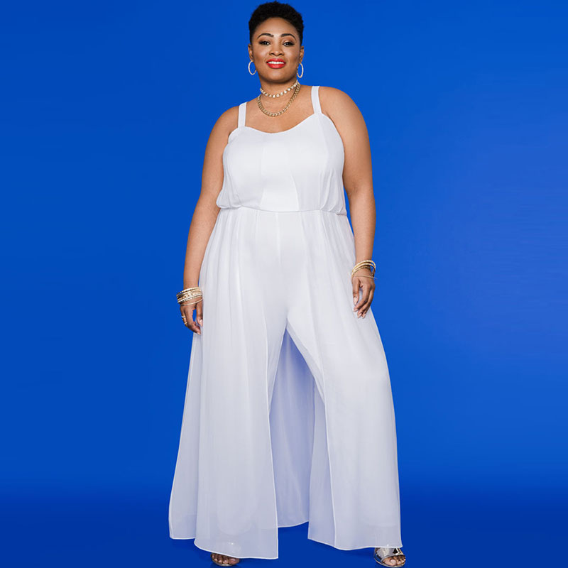 db8538ff721 Plusee Jumpsuit Plus Size 4XL 5XL Women Autumn White Broadcloth Plain Loose  Sleeves Office Jumpsuit Plus Size Women Jumpsuit -in Jumpsuits from Women s  ...