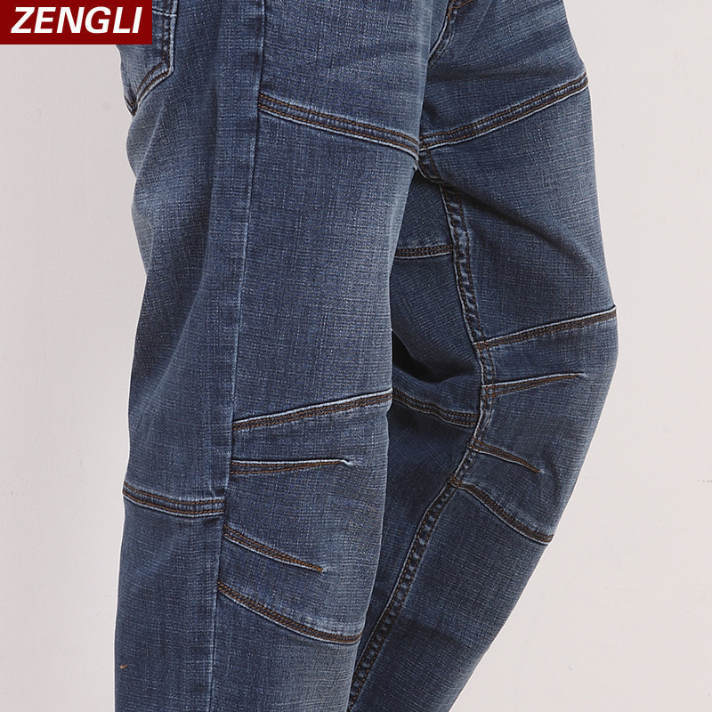 ZENGLI Blue   Jeans   Men New Straight Casual   Jeans   Men's Loose Elasticity Splice Cowboy Denim Trousers Man   Jeans   Plus Size 46 48