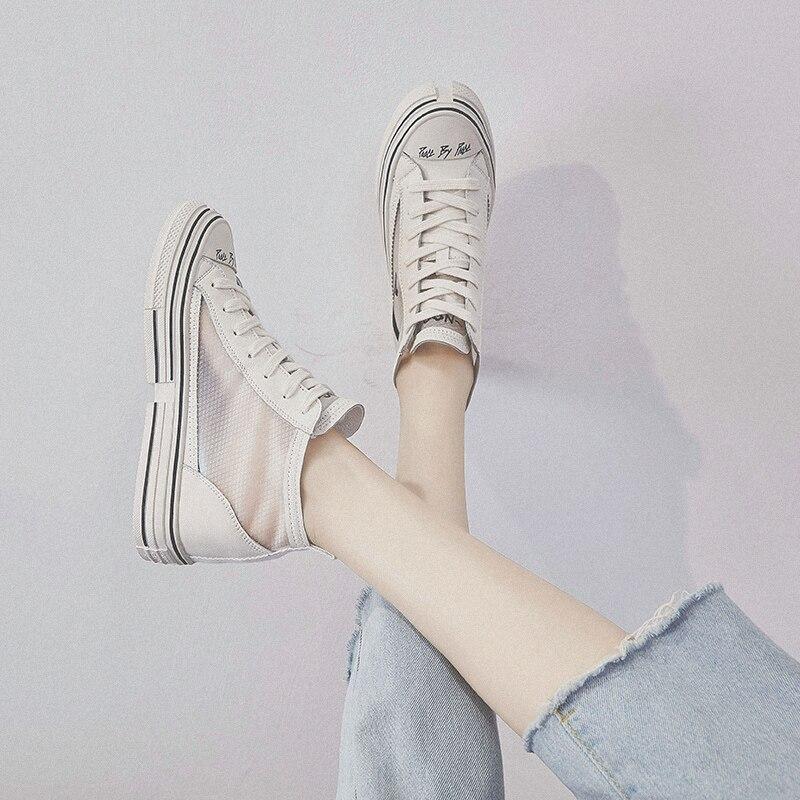 RY РЕЛА/Модная женская обувь на высоком каблуке; Новинка 2019 года; сетчатая дышащая повседневная спортивная обувь красного цвета - 4