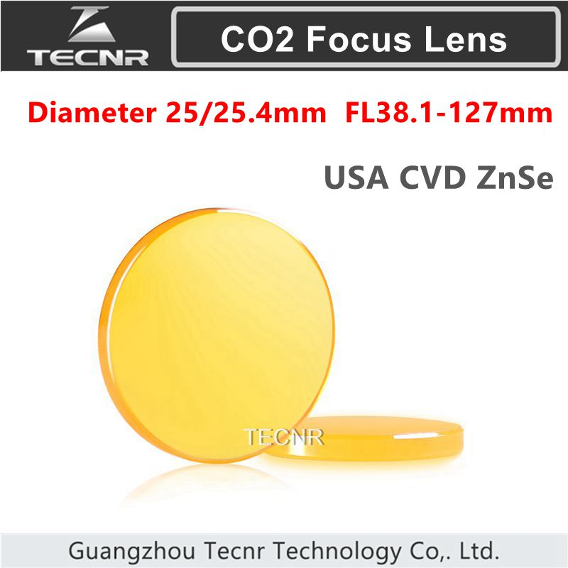 USA  CVD ZnSe Co2 Laser Focus Lens diameter 25mm 25.4mm FL 38.1-127mm 1.5 2 2.5 3 4 5 cvd znse co2 laser focus lens with diameter 18mm focus length 38 1mm thickness 2mm