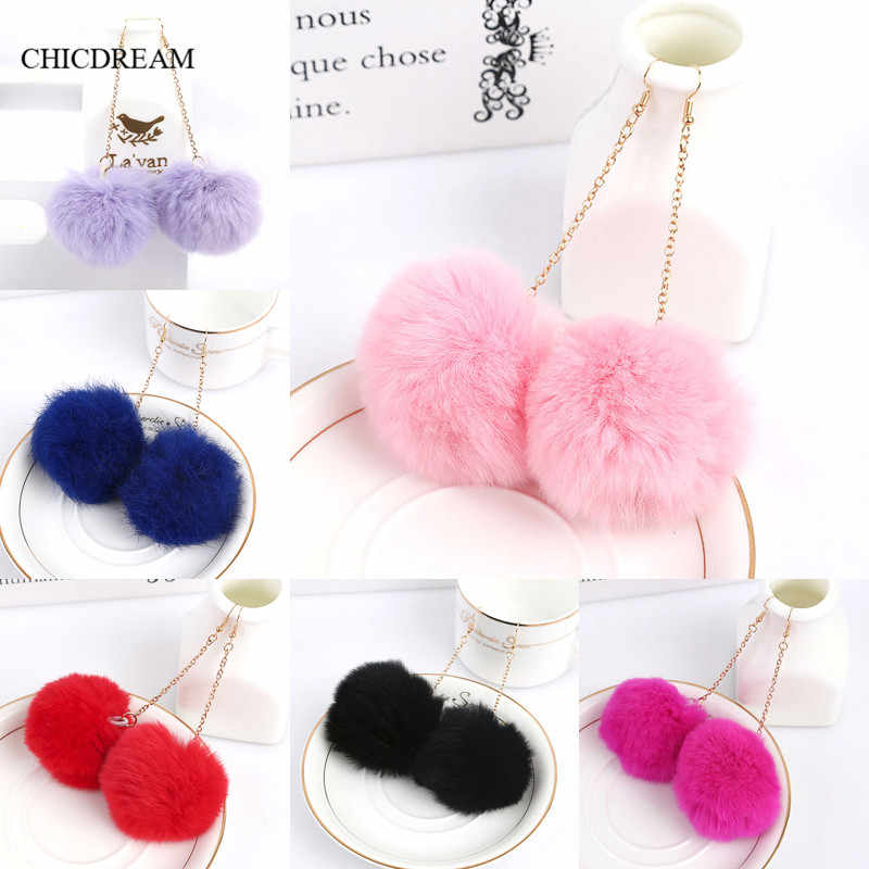 Genuine Real Rabbit Fur Pom Pom Ball Dangle Earrings 6cm Pom Pom 7 Colors Drop Earrings Cute Christmas Gift Earring for Women