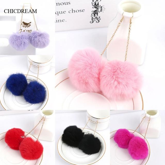 Genuine Real Rabbit Fur Pom Pom Ball Dangle Earrings 6cm Pom Pom 7 Colors Drop Earrings Cute Christmas Gift Earring for Women