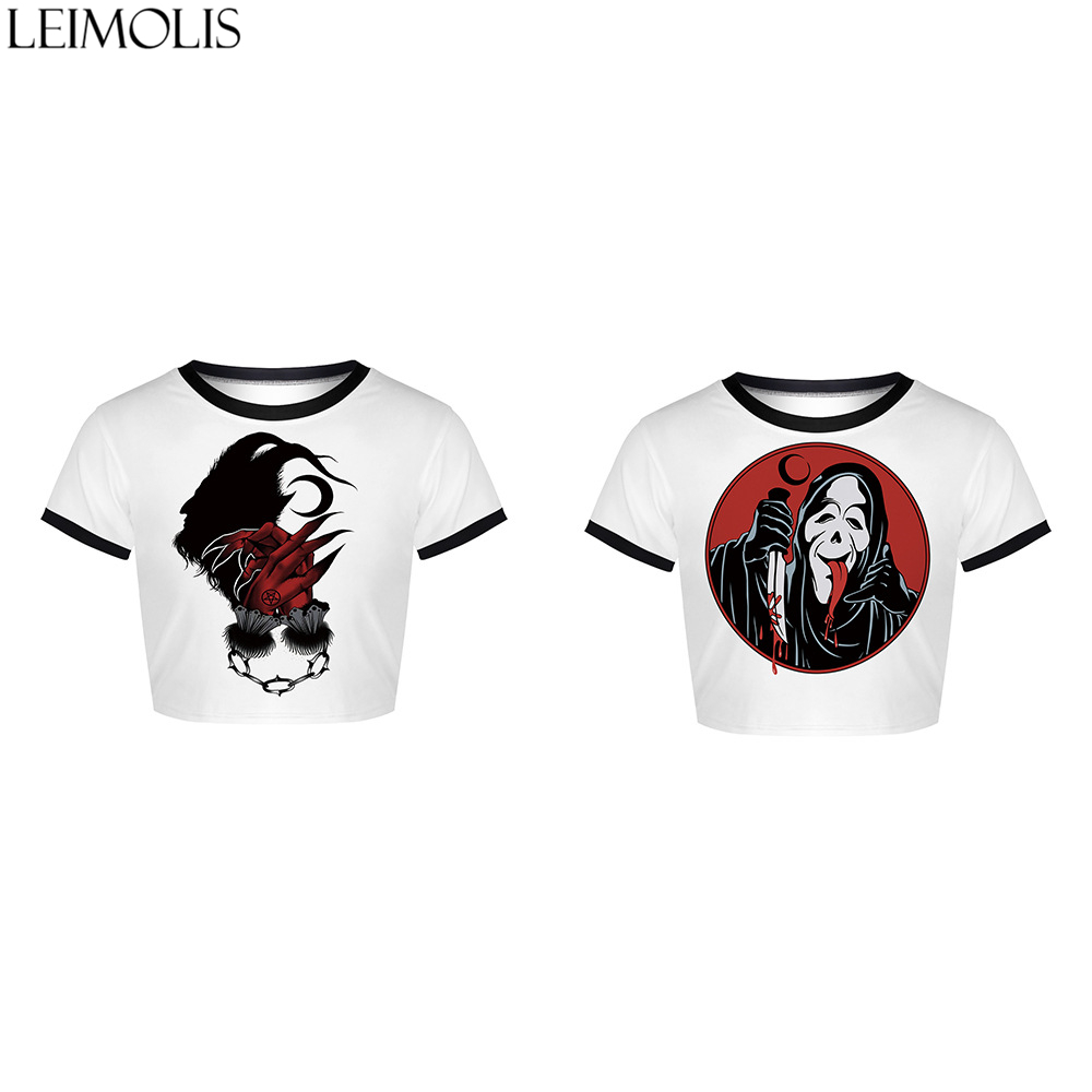 LEIMOLIS Summer Print death Demon White Cartoon Gothic Harajuku Kawaii Streetwear Sexy Tight Crop Top Girl Punk Rock Women Tops