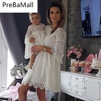 Fashion Family Matching Clothes Baby Mini Dress Mom Girl Party Clothes Mother Daughter Dresses Women Floral Lace Dress C73