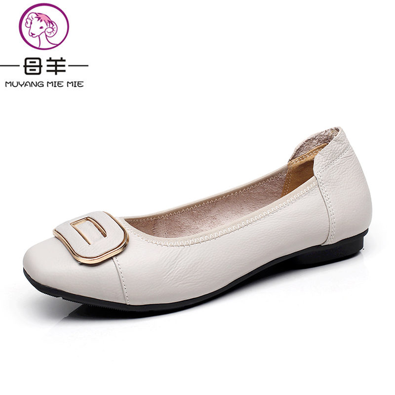 MUYANG Loafers Women Shoes Casual Work Driving Shoes Women Flats Genuine Leather Flat Plus Size Women Shoes