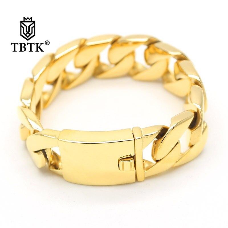 TBTK 25mm largeur or Bracelet en métal lisse bijoux de Style Simple avec fermoir boîte classique Bracelet à la mode Punk hommes lourd Bracelet