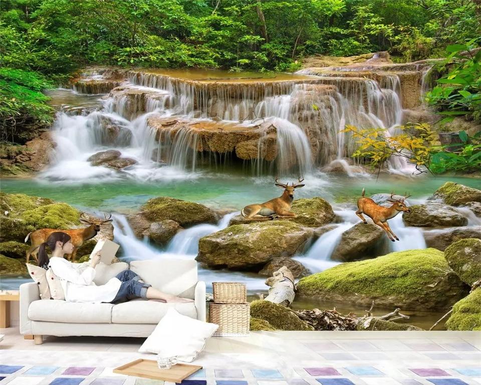 beibehang Custom Interior Decor 3d Wallpaper Super HD Stream Stream Waterfall Living Room TV Background