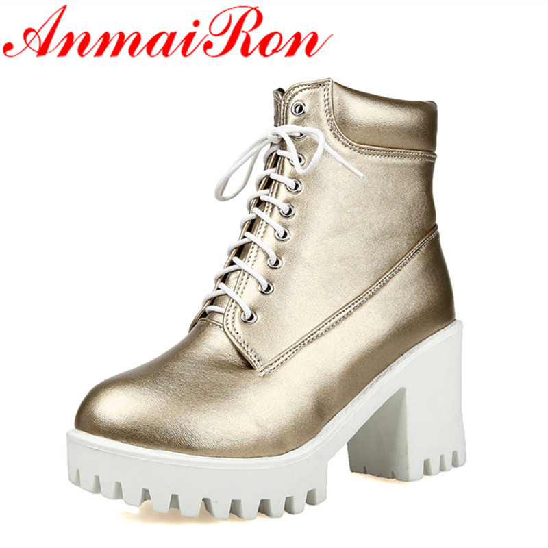ANMAIRON Cross Lace-up Shoes Woman High Heels Winter Boots Golden Shoes Size 34-43 Round Toe Platform Ankle Boots for Women kemekiss winter women round toe ankle boots high heels lace up shoes double buckle platform short martin booties size 33 43