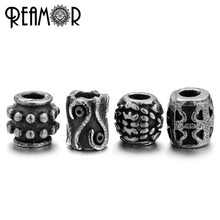 REAMOR Antique 316l Stainless Steel Four Clover&Dots&Evil Eye 2mm Small Hole Beads Charms for DIY String Bracelet Men&Women