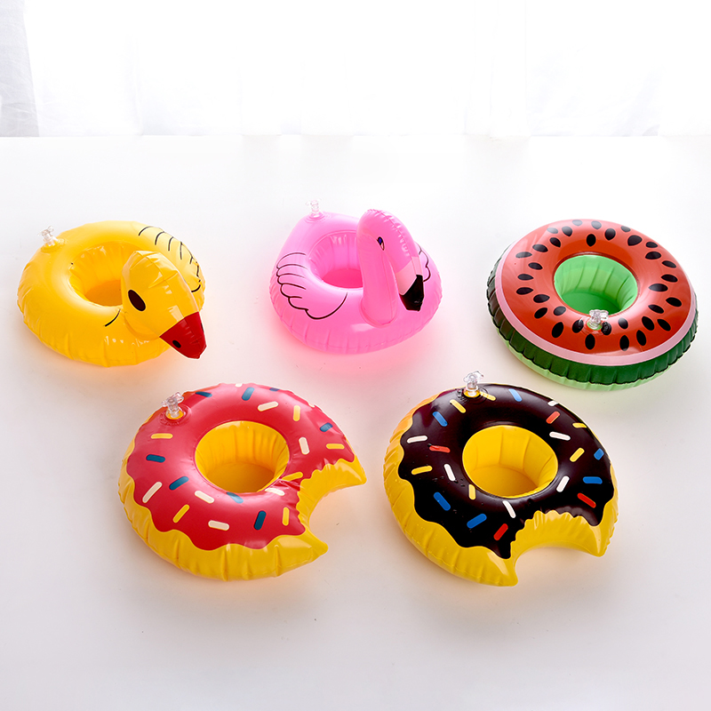 5pcs/lot Hot Selling Mini Pink Flamingo Inflatable Phone Drink Cup Holders Floating Toy Pool Can Party Bath Toy Wholesale
