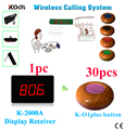 Wireless Pager Restaurant Calling System 1 monitor 30 pcs Wood Color Guest Waiting Buzzer with Waterproof Function