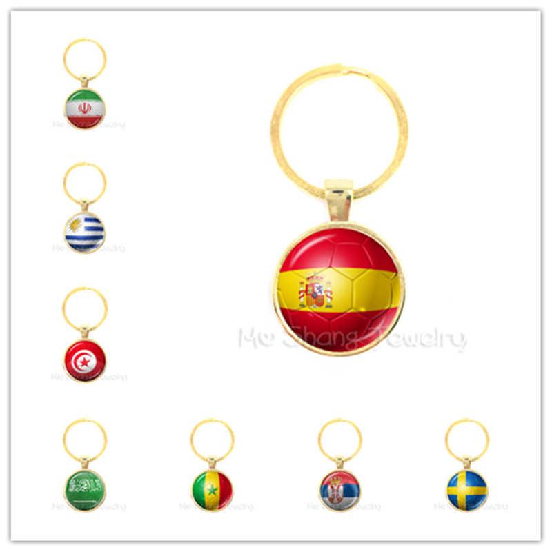 كأس المفاتيح إيران/إسبانيا/أوروغواي/تونس/المملكة العربية السعودية علم الدولة لكرة القدم نمط كيرينغ كرة القدم مباراة Funs قلادة هدية