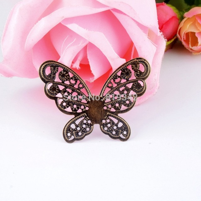 Retail 10Pcs Bronze Filigree Butterfly Wraps Connectors Embellishment Gift Decoration DIY Findings 4.3x3.3cm