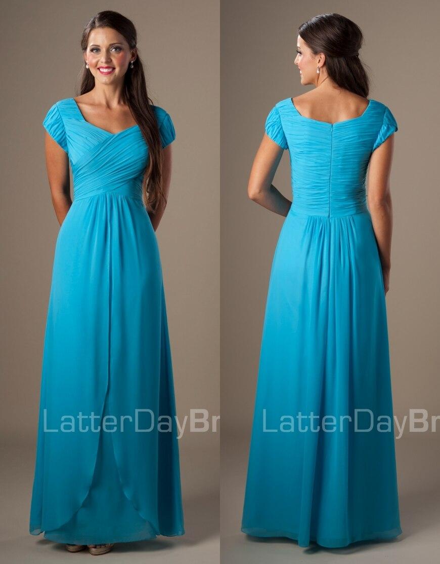 Long étage bleu mousseline de soie modeste robes de demoiselle d'honneur à manches courtes a-ligne pays fête de mariage invités robes livraison rapide