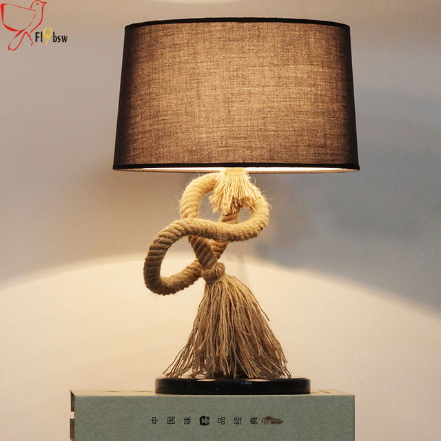 Country Style Creative Hemp Rope Desk Lamp,dia 35CM Cloth Lampshade Retro Table  Lamp For