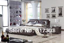 bedroom fruniture leather bed, soft bed, 1.8 kingsize bed, factory wholesale price offered, sea shippment morden designH8048