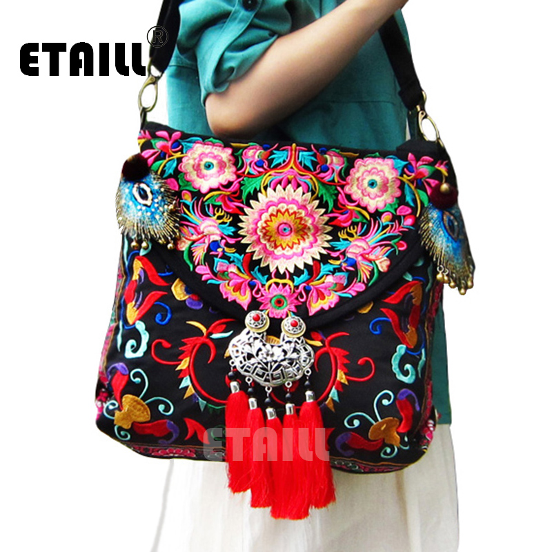 2016 Vintage Ethnic Chinese Hmong Handmade Embroidered Bag National Original Floral Embroidery Famous Brand Women Shoulder