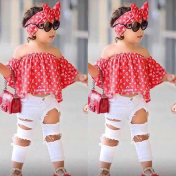 3pcs Suit Girls Clothes Summer Baby Off Shoulder Tops +Jeans + Headband Clothing Set robe  For 2 3 4 5 6 7 Years MB430 1