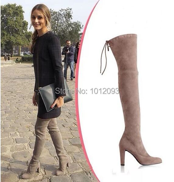 02d6daf202f Big Size 10 Newest Highland Thigh-High Boots Fashion Back-tie Suede Over-