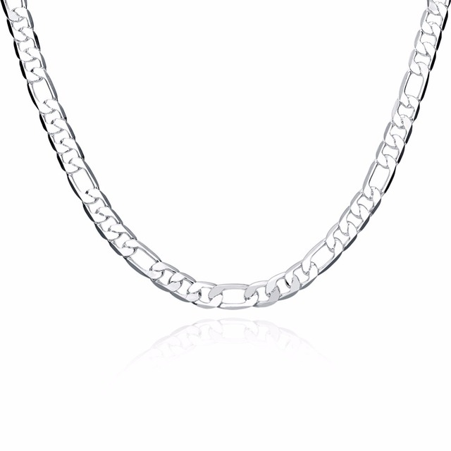 e0e1946f688 Best selling 925 sterling silver jewelry personality men's 8 mm flat three  a 20 inch geometric silver necklace DIY