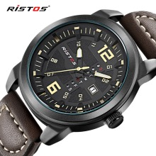 RISTOS Double Date Men Watch Top Brand Luxury Fashion Sport Male Quartz Watches Waterproof Calendar Genuine Leather Wrist Watch