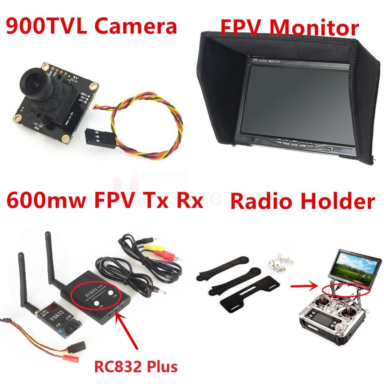 2016 Nouveau Fpv Kit Combo Système 900TVL Caméra 5.8 Ghz 600 mw 48CH TS832 émetteur RC832 Plus Neige Moniteur support pour Rc avion