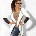 2016 Spring Women Cardigans PU Leather Sleeve Knitted Cardigan Open Stitch Loose Long Sleeve Sweater Outwear Tops Jacket Coat