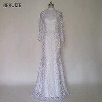 JIERUIZE White Vintage Lace Long Sleeves Mermaid Wedding Dresses High Neck Sheer Back Bridal Gowns Robe
