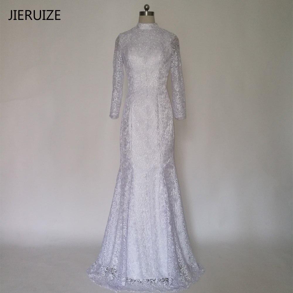 Wedding Dresses Wedding Gown Sheer Long Sleeves White: JIERUIZE White Vintage Lace Long Sleeves Mermaid Wedding