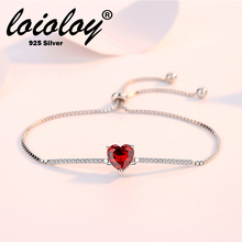 Loioloy Authentic 925 Sterling Silver Hot Sale Delicate Adjustable Charming Red Heart Bracelets&Bangles For Women Girls