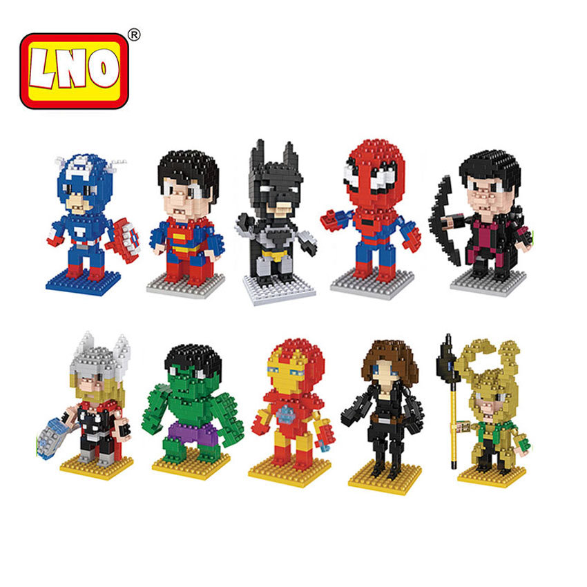 Full Set 10 Styles LNO Particle Toys Building Blocks Super Hero Batman Captain America Series Mini