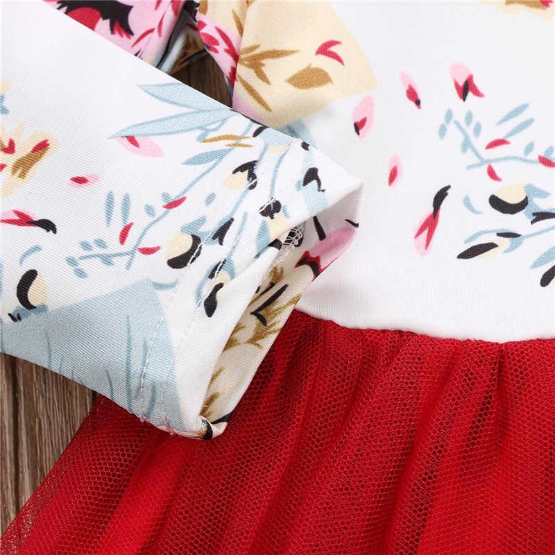 Marka Yeni Yürüyor Çocuk Bebek Kız Çiçek Fırfır Uzun Kollu Tül Tutu Kırmızı Elbise Kıyafetler Seti