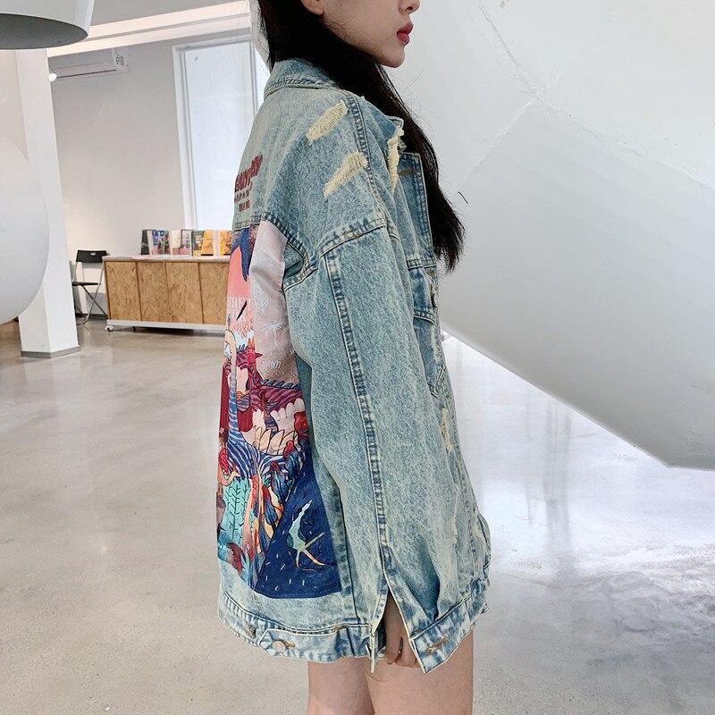 HTB1z2BtbUGF3KVjSZFoq6zmpFXal RUGOD 2019 New Autumn Funny Cartoon Print Long Denim Jacket Women Vintage Streetwear Punk Style Jean Jacket casaco feminino