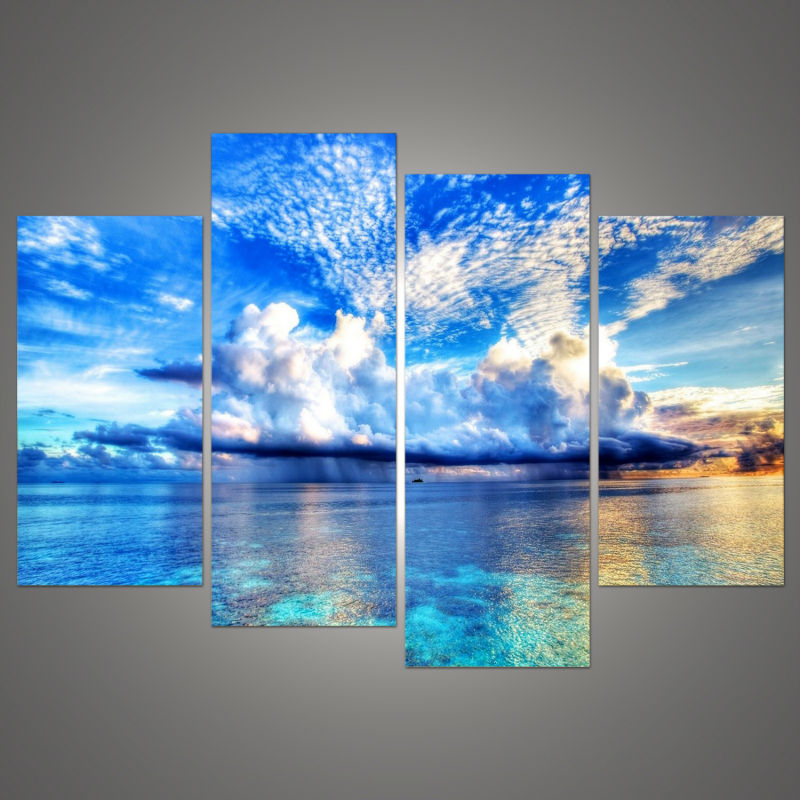 4pcs beautiful ocean sunset landscape wall painting print on canvas for home decor ideas paints on wall pictures art - Ocean Decor