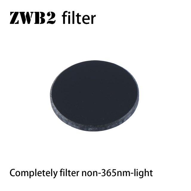 Filtro ZWB2 para luz UV 365nm, diámetro de 20,5mm, grosor de 2mm