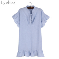 Lychee Preppy Style Summer Women Dress Stripe Lace Up Butterfly Sleeve Stand Neck Casual Loose A