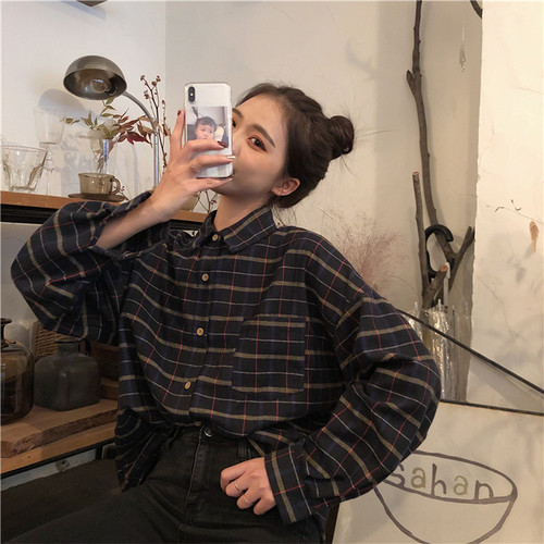 Simples xadrez do vintage solta todos os jogos estilo coreano faculdade vento moda feminina camisas de manga longa