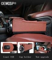 Car Seat Crevice Storage Box USB car charger Organizer Gap Slit filler Holder For Wallet Coins Cigarette Slit Pocket accessories