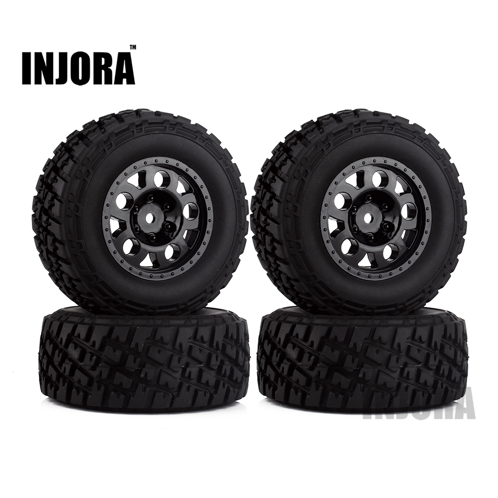 INJORA 4PCS Black Wheel Rim & Tires Set for 1/10 RC Short Course Truck Slash HPI Traxxas RC Model Car injora 4pcs short course truck rubber tire