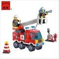 Combinações diferentes!! 130 pçs/set Caminhão de Combate A Incêndio DIY Blocos de Construção Crianças Brinquedos Educativos Puzzle Brinquedos Presentes