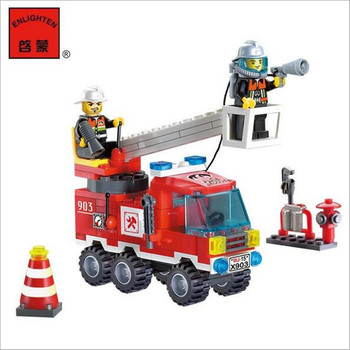 Different Combinations !! 130pcs/set Fire Fighting Truck DIY Building Blocks Toy Children Educational Puzzle Brinquedos Gifts