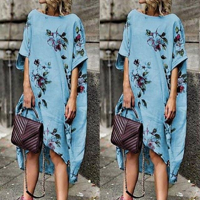 Women Boho Floral Cotton...