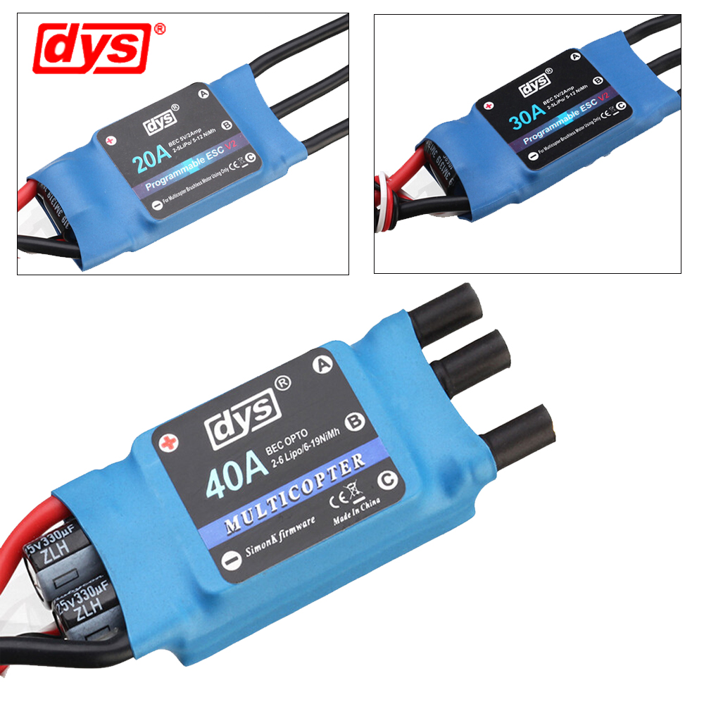 4pcs/lot Original DYS 10A/20A/30A/40A/50A 2-6S Speed Controller (Simonk Firmware) ESC for X-copter Quadcopter Multicopter simonk 30a 40a 2 4s brushless esc speed control for multicopter