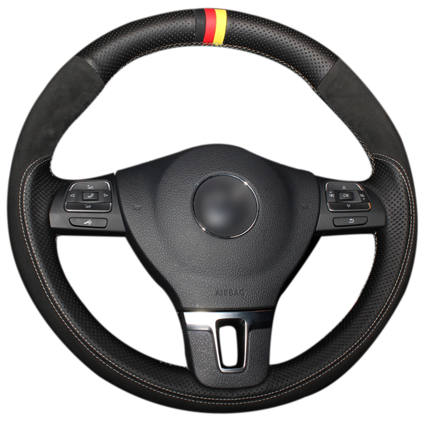 Black Genuine Leather Black Suede Steering Wheel Cover for Volkswagen VW Gol Tiguan Passat B7 Passat